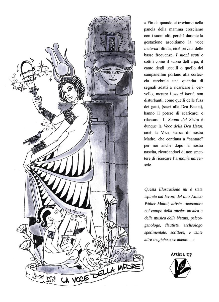 illustrazione_esoterica_dea_egizia_hator_sistro_egizio