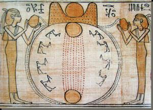 De-scheppingsmythe-van-Hermopolis-Magna-de-ogdoade-dodenboekpapyrus-van-Chonsoemose-1000-v.chr_